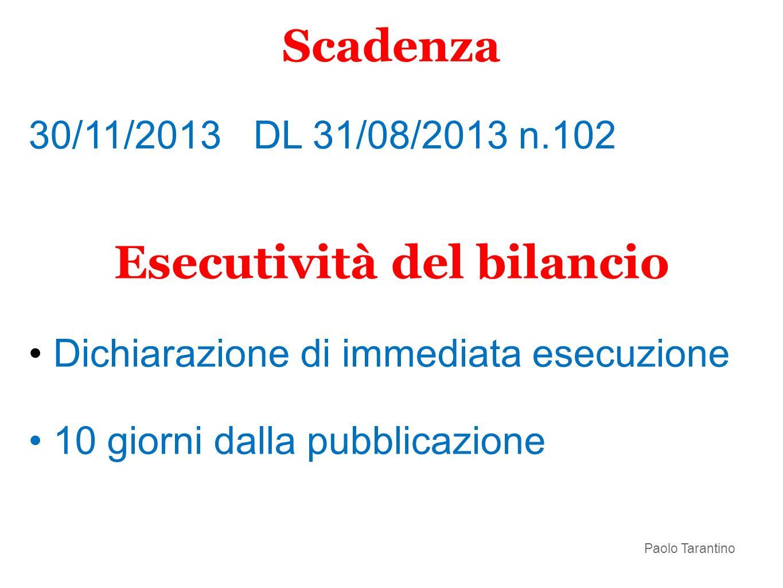30/11/2013 DL 31/08/2013 n.102 Esecutività del bilancio Dichiarazione di immediata esecuzione 10 giorni dalla pubblicazione Scadenza Paolo Tarantino