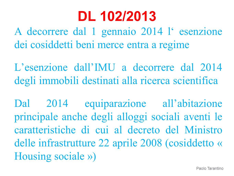 DL 102/2013 A decorrere dal 1 gennaio 2014 l esenzione dei cosiddetti beni merce entra a regime Lesenzione dallIMU a decorrere dal 2014 degli immobili