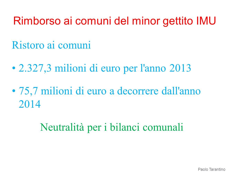 Rimborso ai comuni del minor gettito IMU Ristoro ai comuni 2.327,3 milioni di euro per l'anno 2013 75,7 milioni di euro a decorrere dall'anno 2014 Neu