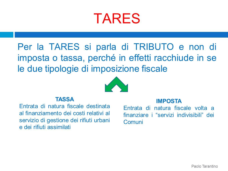 TARES Per la TARES si parla di TRIBUTO e non di imposta o tassa, perché in effetti racchiude in se le due tipologie di imposizione fiscale. TASSA Entr