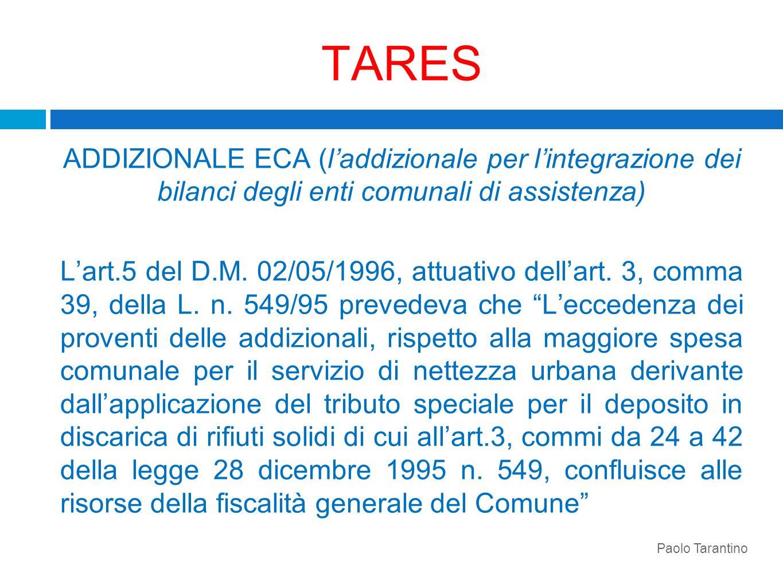 TARES ADDIZIONALE ECA (laddizionale per lintegrazione dei bilanci degli enti comunali di assistenza) Lart.5 del D.M. 02/05/1996, attuativo dellart. 3,