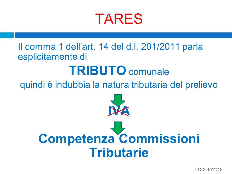 TARES Il comma 1 dellart. 14 del d.l. 201/2011 parla esplicitamente di TRIBUTO comunale quindi è indubbia la natura tributaria del prelievo IVA Compet