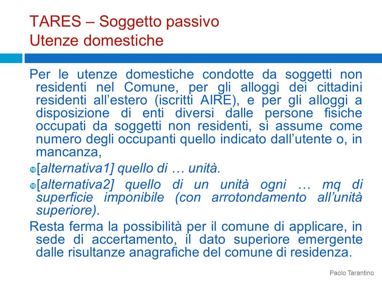 TARES – Soggetto passivo Utenze domestiche Per le utenze domestiche condotte da soggetti non residenti nel Comune, per gli alloggi dei cittadini resid