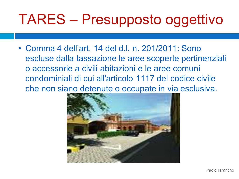 TARES – Presupposto oggettivo Comma 4 dellart. 14 del d.l. n. 201/2011: Sono escluse dalla tassazione le aree scoperte pertinenziali o accessorie a ci