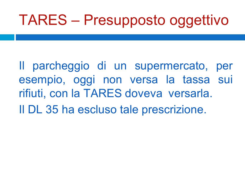 TARES – Presupposto oggettivo Il parcheggio di un supermercato, per esempio, oggi non versa la tassa sui rifiuti, con la TARES doveva versarla. Il DL