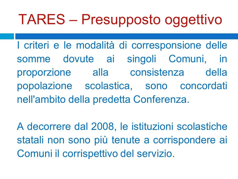 TARES – Presupposto oggettivo I criteri e le modalità di corresponsione delle somme dovute ai singoli Comuni, in proporzione alla consistenza della po