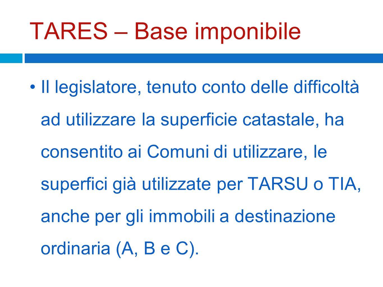 TARES – Base imponibile Il legislatore, tenuto conto delle difficoltà ad utilizzare la superficie catastale, ha consentito ai Comuni di utilizzare, le
