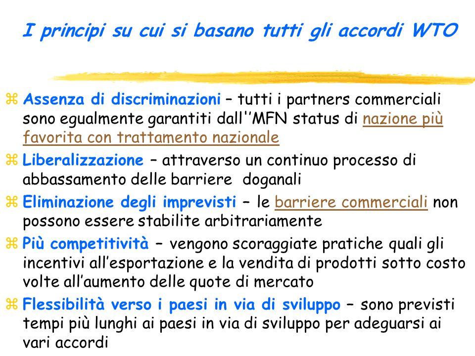 La struttura degli accordi dellUruguay Round: BeniServiziProprietàDispute intellettuali PrincipiGATTGATSTRIPSSistema di baserisoluzione dispute Ulteri