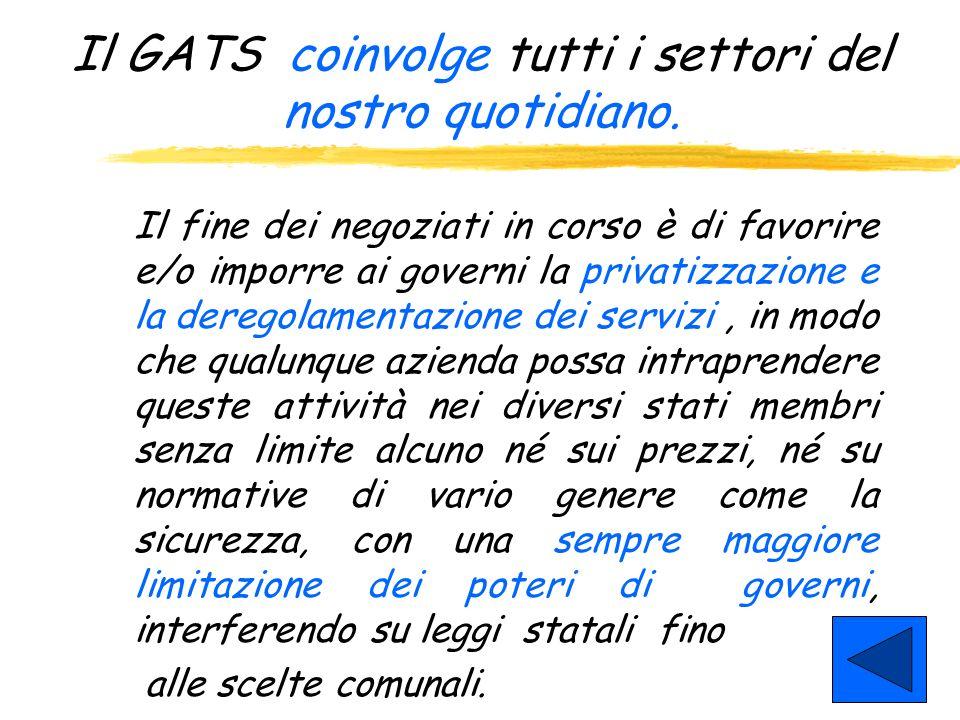GATS: General agreement on Trade of Service (Accordo generale sul commercio dei servizi) Parte integrante del pacchetto di accordi WTO dellUruguay Rou