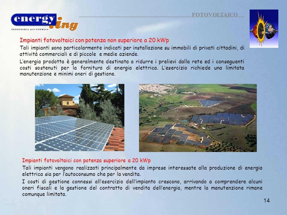 14 FOTOVOLTAICO Impianti fotovoltaici con potenza non superiore a 20 kWp Tali impianti sono particolarmente indicati per installazione su immobili di