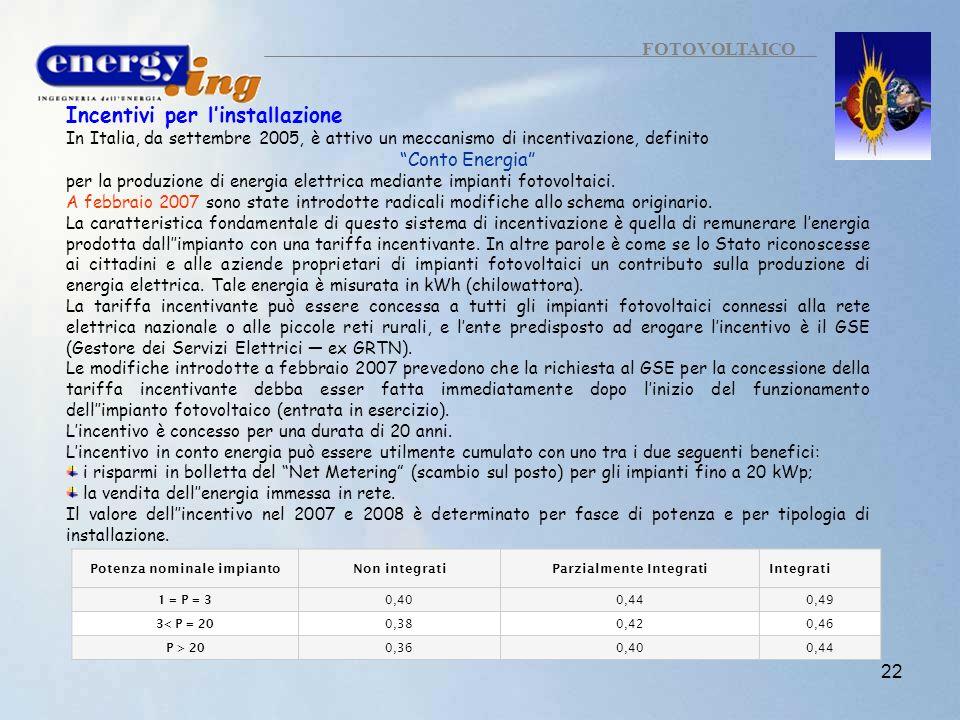 22 FOTOVOLTAICO Incentivi per linstallazione In Italia, da settembre 2005, è attivo un meccanismo di incentivazione, definito Conto Energia per la pro