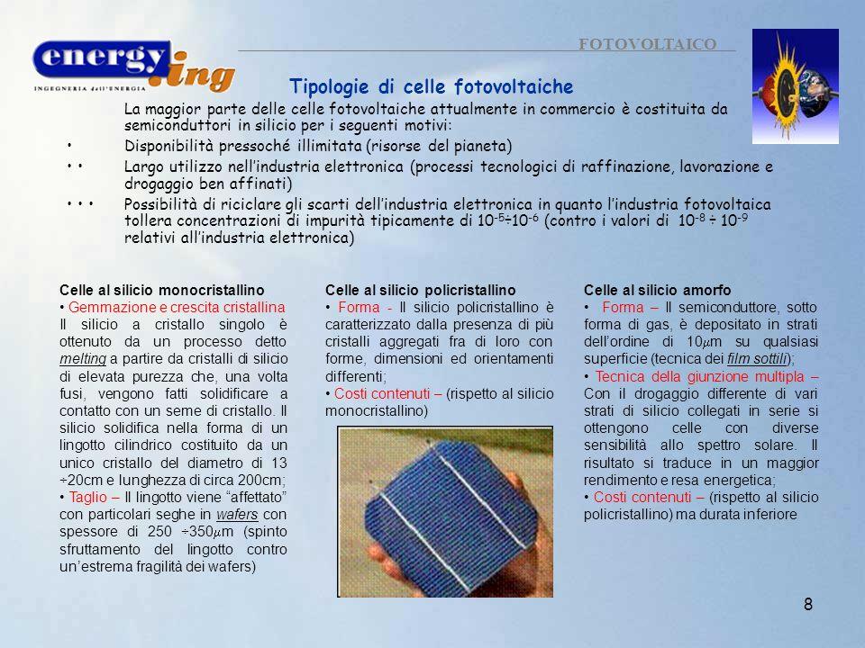 8 FOTOVOLTAICO Tipologie di celle fotovoltaiche La maggior parte delle celle fotovoltaiche attualmente in commercio è costituita da semiconduttori in
