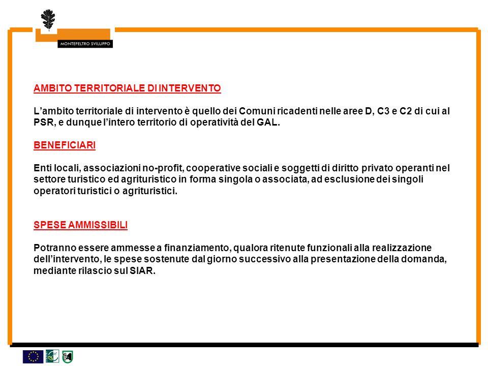 AMBITO TERRITORIALE DI INTERVENTO Lambito territoriale di intervento è quello dei Comuni ricadenti nelle aree D, C3 e C2 di cui al PSR, e dunque lintero territorio di operatività del GAL.