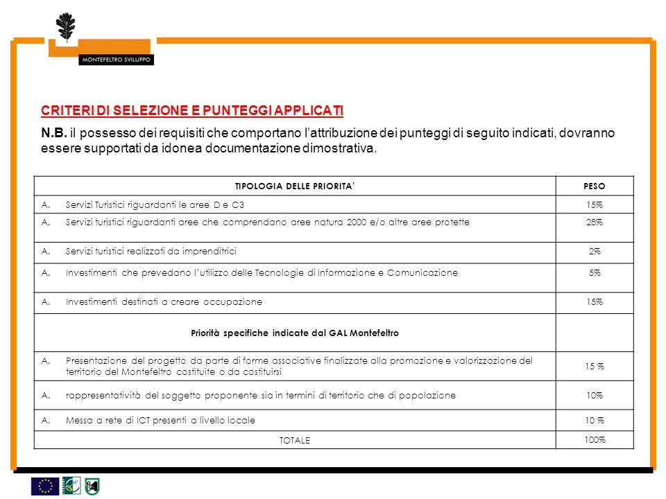 CRITERI DI SELEZIONE E PUNTEGGI APPLICATI N.B.