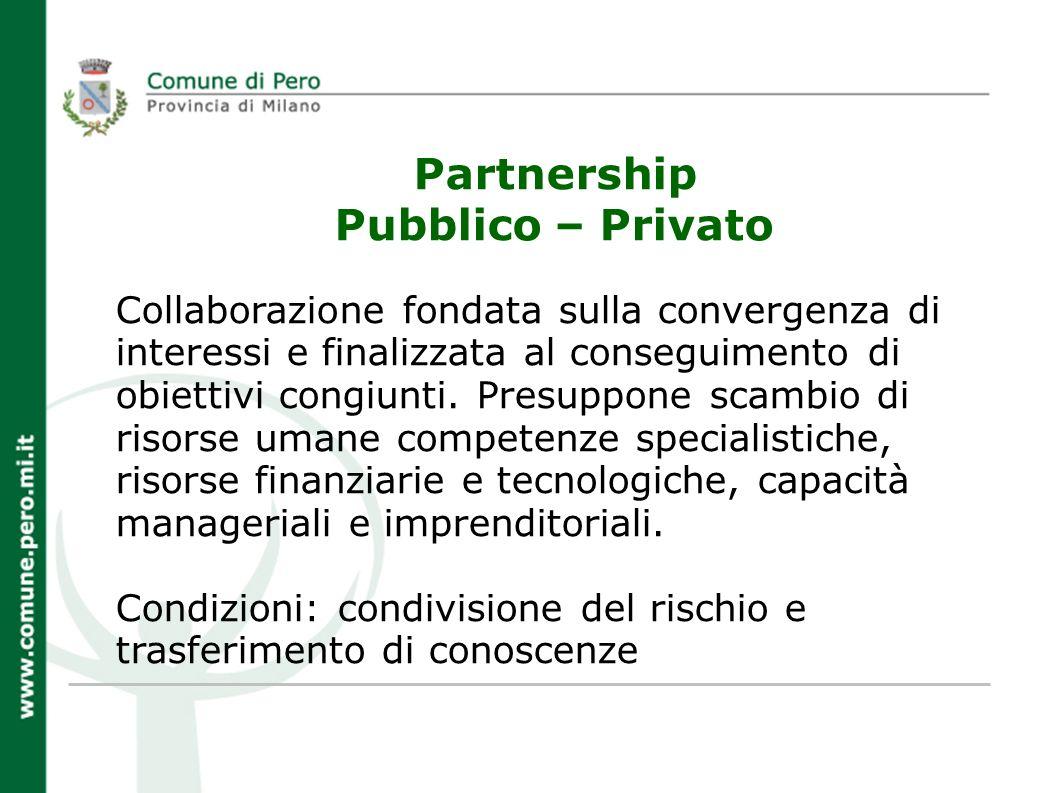 Partnership Pubblico – Privato Collaborazione fondata sulla convergenza di interessi e finalizzata al conseguimento di obiettivi congiunti.