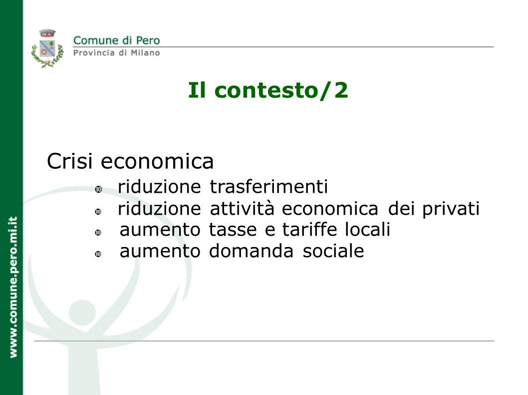 Il contesto/2 Crisi economica riduzione trasferimenti riduzione attività economica dei privati aumento tasse e tariffe locali aumento domanda sociale