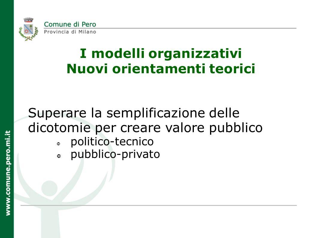 I modelli organizzativi Nuovi orientamenti teorici Superare la semplificazione delle dicotomie per creare valore pubblico politico-tecnico pubblico-privato