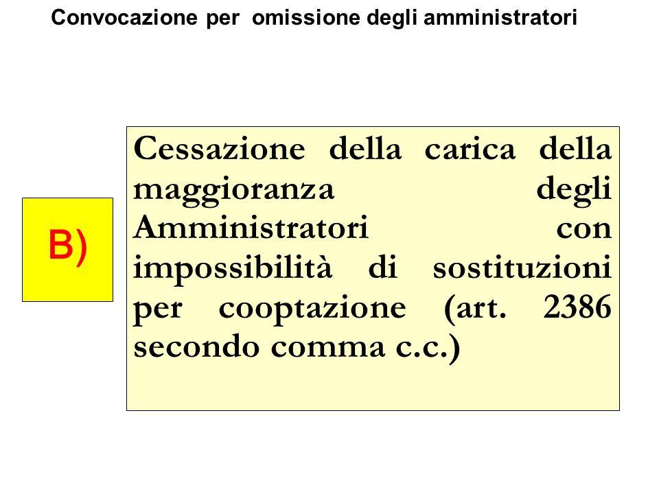 Cessazione della carica della maggioranza degli Amministratori con impossibilità di sostituzioni per cooptazione (art. 2386 secondo comma c.c.) B) Con