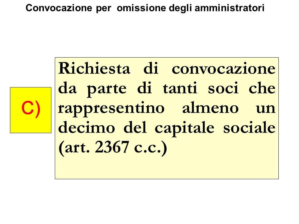 Richiesta di convocazione da parte di tanti soci che rappresentino almeno un decimo del capitale sociale (art. 2367 c.c.) C) Convocazione per omission
