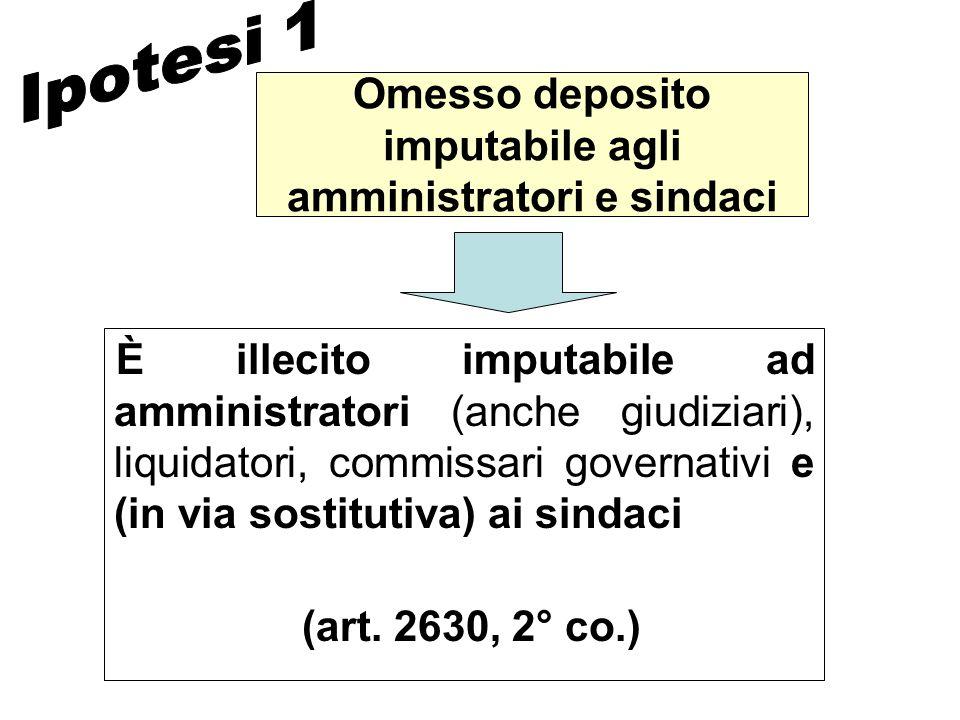 Omesso deposito imputabile agli amministratori e sindaci È illecito imputabile ad amministratori (anche giudiziari), liquidatori, commissari governati