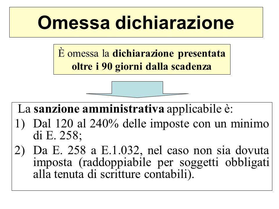 Omessa dichiarazione La sanzione amministrativa applicabile è: 1)Dal 120 al 240% delle imposte con un minimo di E. 258; 2)Da E. 258 a E.1.032, nel cas