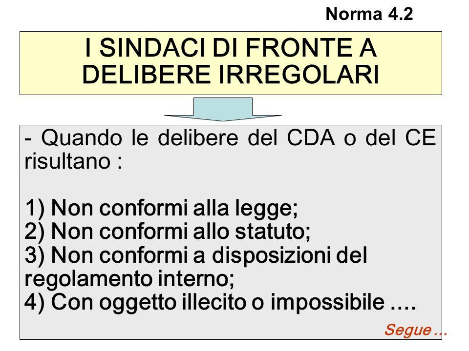 I SINDACI DI FRONTE A DELIBERE IRREGOLARI - Quando le delibere del CDA o del CE risultano : 1) Non conformi alla legge; 2) Non conformi allo statuto;