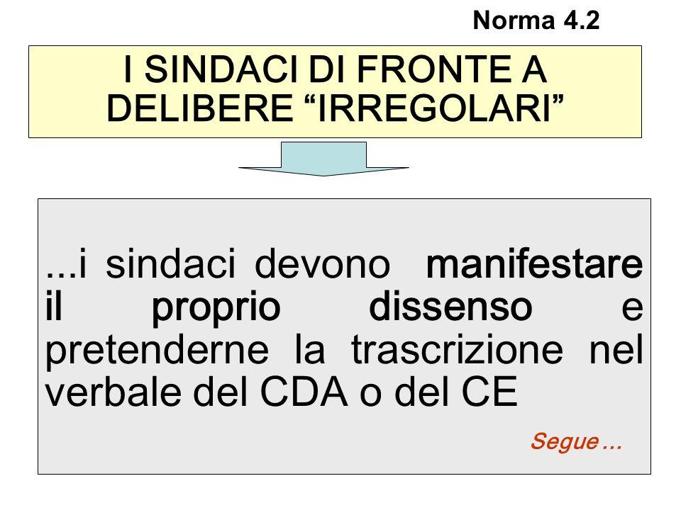 ...i sindaci devono manifestare il proprio dissenso e pretenderne la trascrizione nel verbale del CDA o del CE Segue... I SINDACI DI FRONTE A DELIBERE