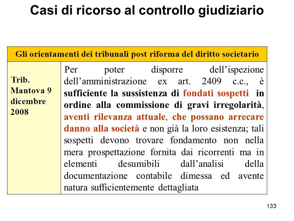 133 Gli orientamenti dei tribunali post riforma del diritto societario Trib. Mantova 9 dicembre 2008 Per poter disporre dellispezione dellamministrazi