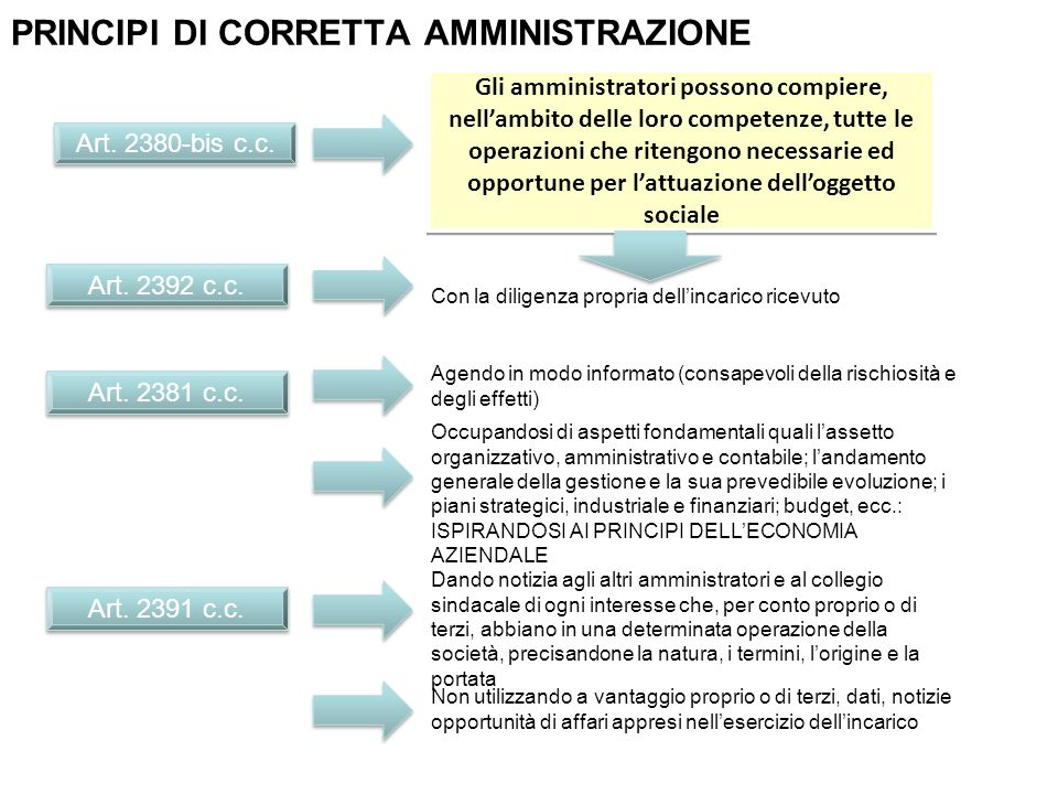 Art. 2380-bis c.c. Gli amministratori possono compiere, nellambito delle loro competenze, tutte le operazioni che ritengono necessarie ed opportune pe