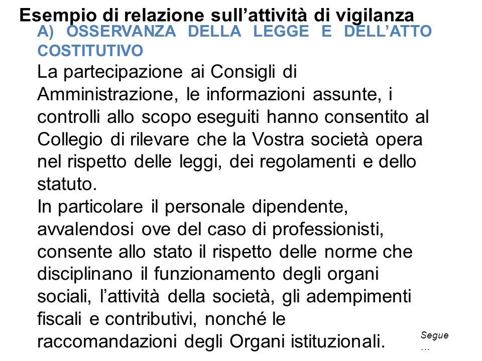 Esempio di relazione sullattività di vigilanza A) OSSERVANZA DELLA LEGGE E DELLATTO COSTITUTIVO La partecipazione ai Consigli di Amministrazione, le i