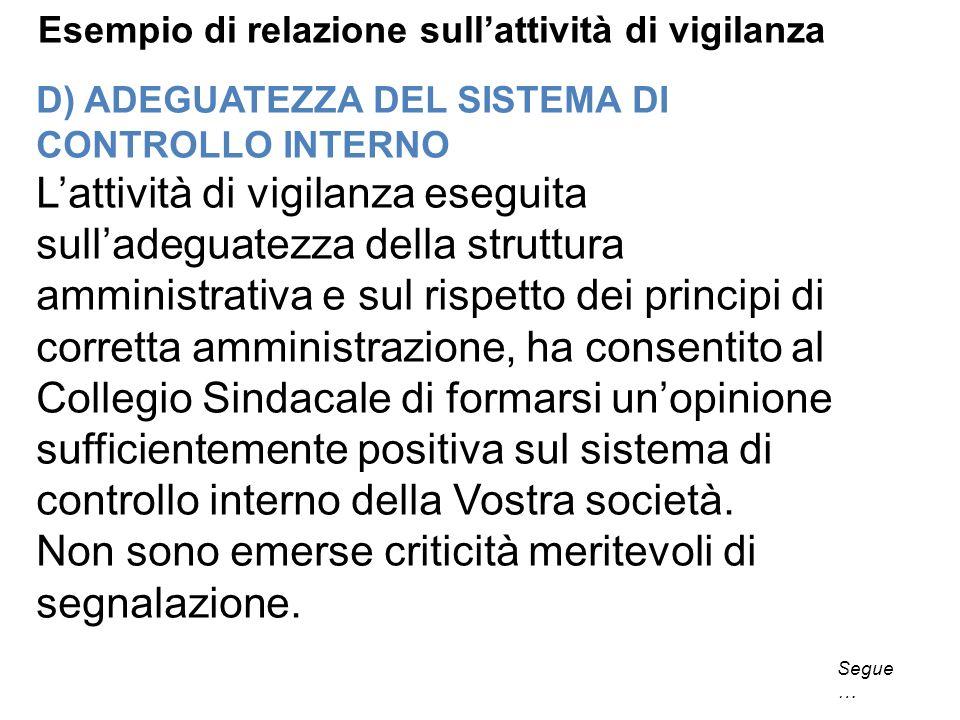 D) ADEGUATEZZA DEL SISTEMA DI CONTROLLO INTERNO Lattività di vigilanza eseguita sulladeguatezza della struttura amministrativa e sul rispetto dei prin