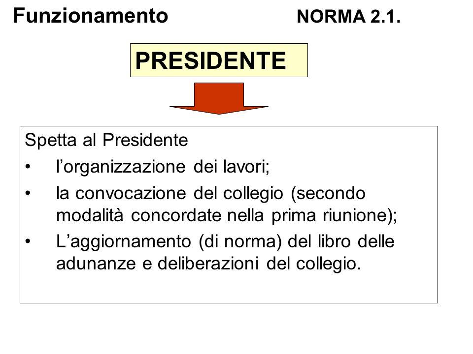 Spetta al Presidente lorganizzazione dei lavori; la convocazione del collegio (secondo modalità concordate nella prima riunione); Laggiornamento (di n
