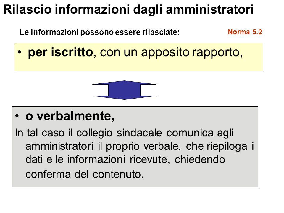 per iscritto, con un apposito rapporto, Rilascio informazioni dagli amministratori Le informazioni possono essere rilasciate: o verbalmente, In tal ca