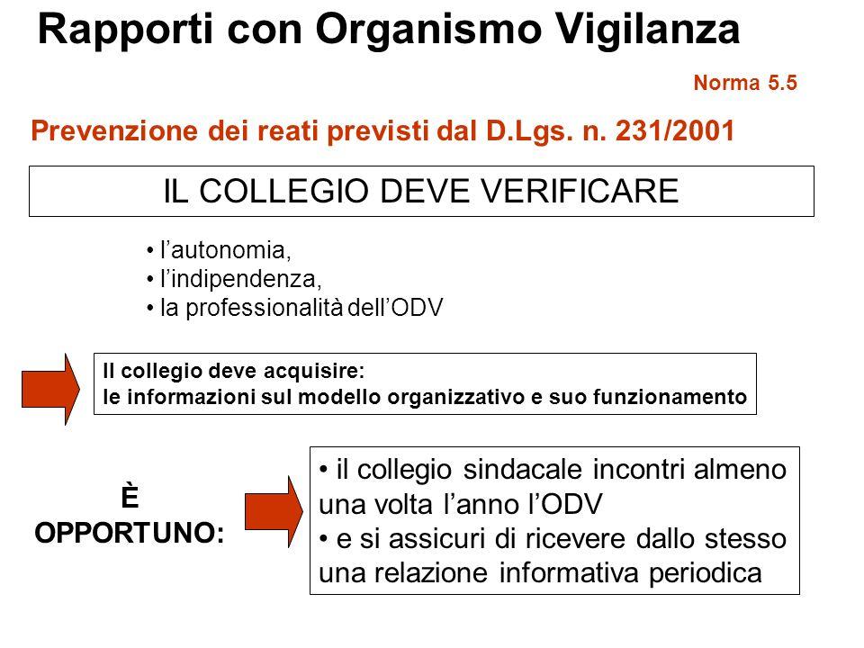 Rapporti con Organismo Vigilanza Norma 5.5 IL COLLEGIO DEVE VERIFICARE Prevenzione dei reati previsti dal D.Lgs. n. 231/2001 lautonomia, lindipendenza