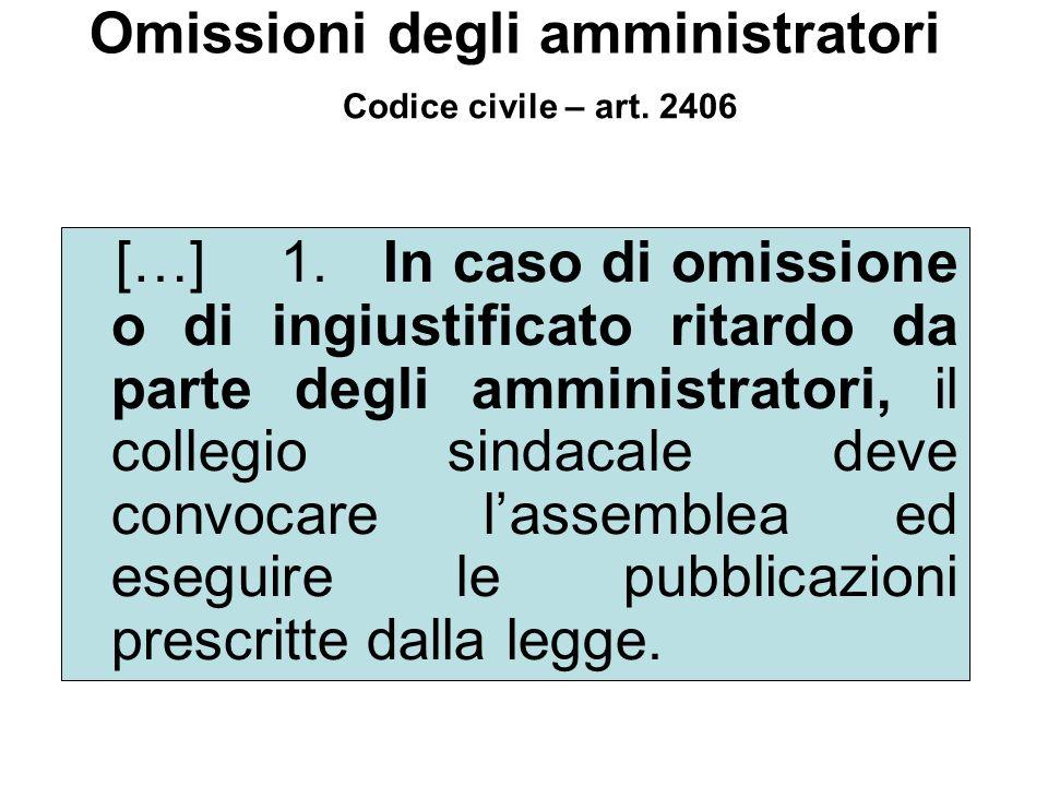 Omissioni degli amministratori […] 1. In caso di omissione o di ingiustificato ritardo da parte degli amministratori, il collegio sindacale deve convo