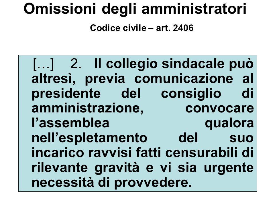 […] 2. Il collegio sindacale può altresì, previa comunicazione al presidente del consiglio di amministrazione, convocare lassemblea qualora nellesplet