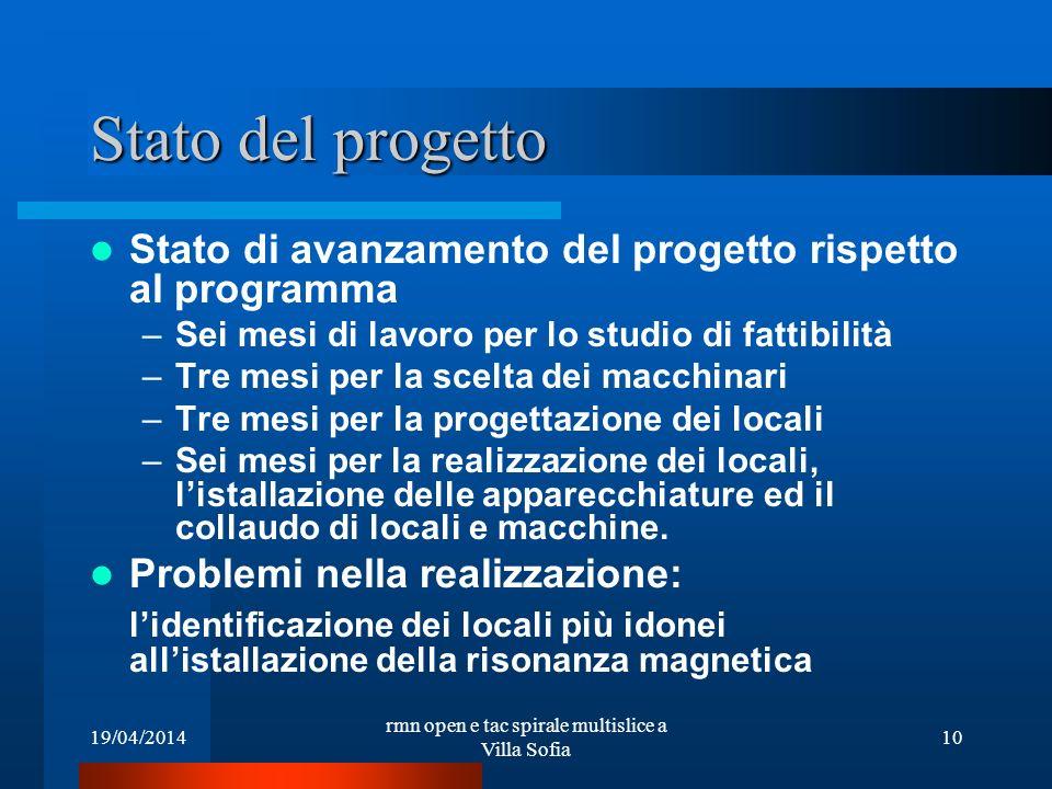 19/04/2014 rmn open e tac spirale multislice a Villa Sofia 10 Stato del progetto Stato di avanzamento del progetto rispetto al programma –Sei mesi di
