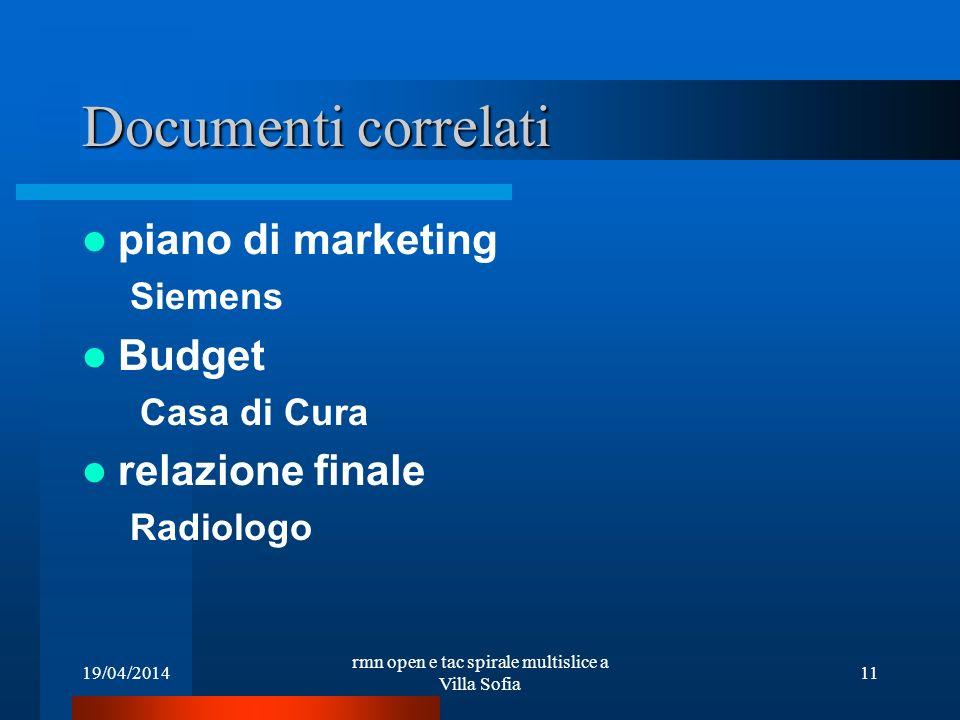 19/04/2014 rmn open e tac spirale multislice a Villa Sofia 11 Documenti correlati piano di marketing Siemens Budget Casa di Cura relazione finale Radi