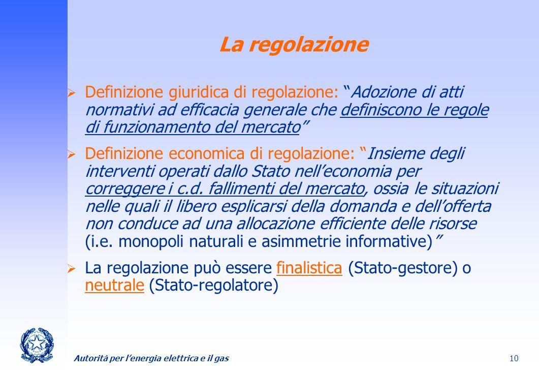 Autorità per lenergia elettrica e il gas 10 La regolazione Definizione giuridica di regolazione: Adozione di atti normativi ad efficacia generale che