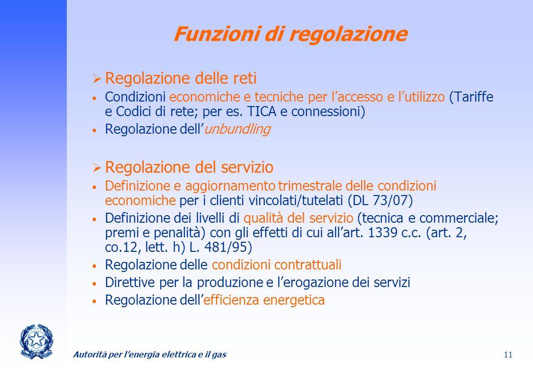 Autorità per lenergia elettrica e il gas 11 Funzioni di regolazione Regolazione delle reti Condizioni economiche e tecniche per laccesso e lutilizzo (
