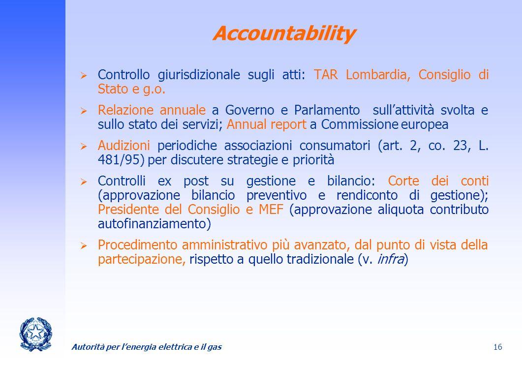 Autorità per lenergia elettrica e il gas 16 Accountability Controllo giurisdizionale sugli atti: TAR Lombardia, Consiglio di Stato e g.o. Relazione an