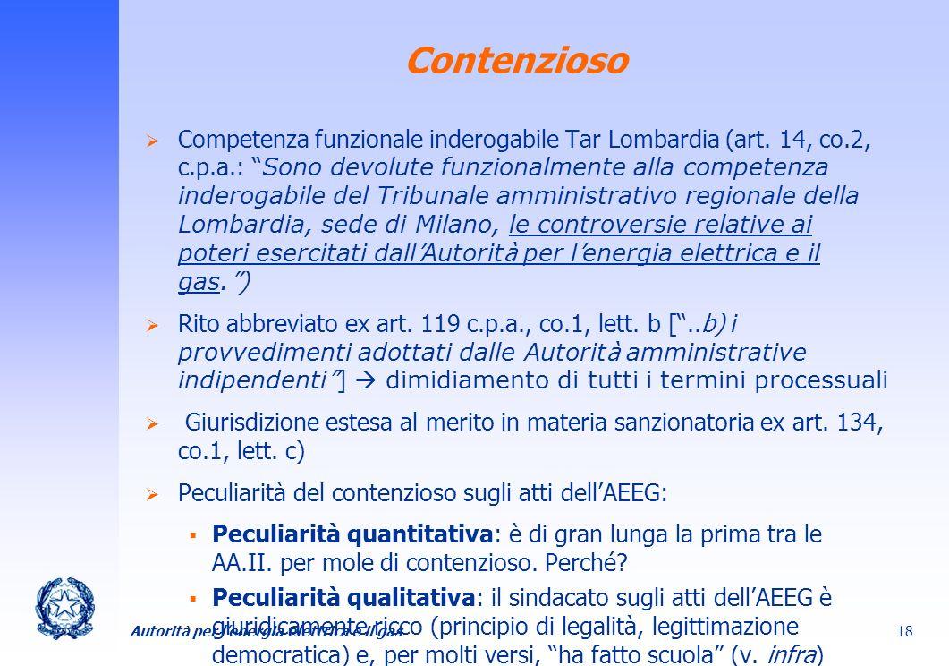 Autorità per lenergia elettrica e il gas 18 Contenzioso Competenza funzionale inderogabile Tar Lombardia (art. 14, co.2, c.p.a.: Sono devolute funzion