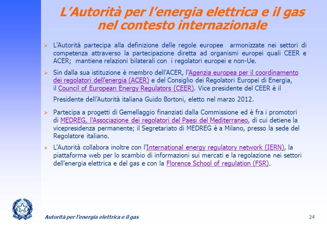 Autorità per lenergia elettrica e il gas 24 LAutorità per lenergia elettrica e il gas nel contesto internazionale L'Autorità partecipa alla definizion