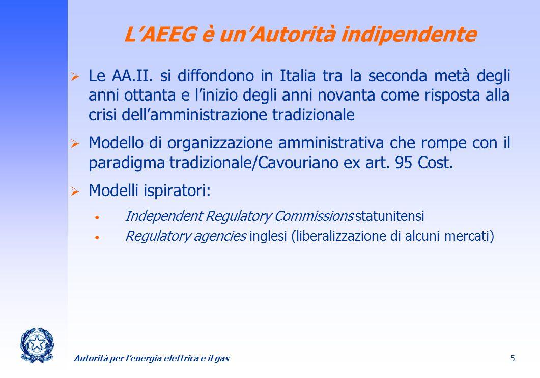 Autorità per lenergia elettrica e il gas 5 Le AA.II. si diffondono in Italia tra la seconda metà degli anni ottanta e linizio degli anni novanta come
