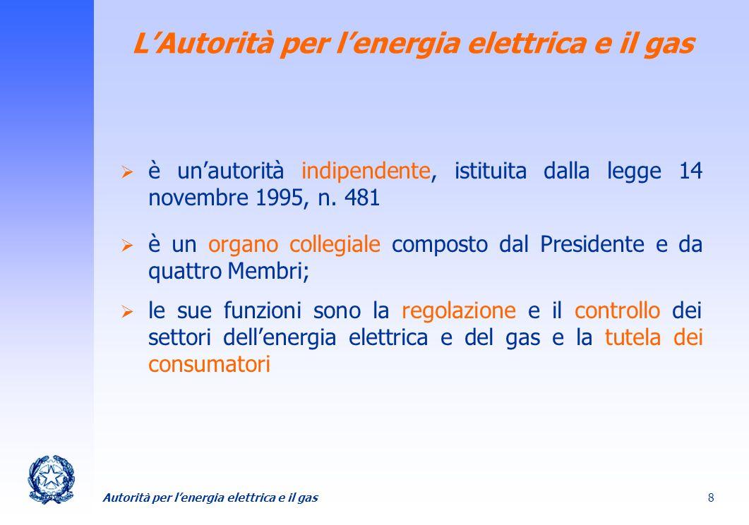 Autorità per lenergia elettrica e il gas 8 LAutorità per lenergia elettrica e il gas è unautorità indipendente, istituita dalla legge 14 novembre 1995