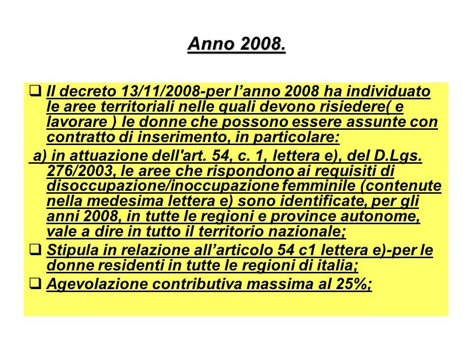 Anno 2008. Il decreto 13/11/2008-per lanno 2008 ha individuato le aree territoriali nelle quali devono risiedere( e lavorare ) le donne che possono es