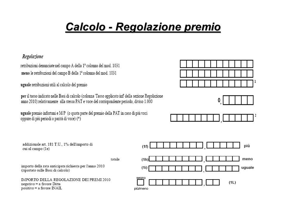 Calcolo - Regolazione premio