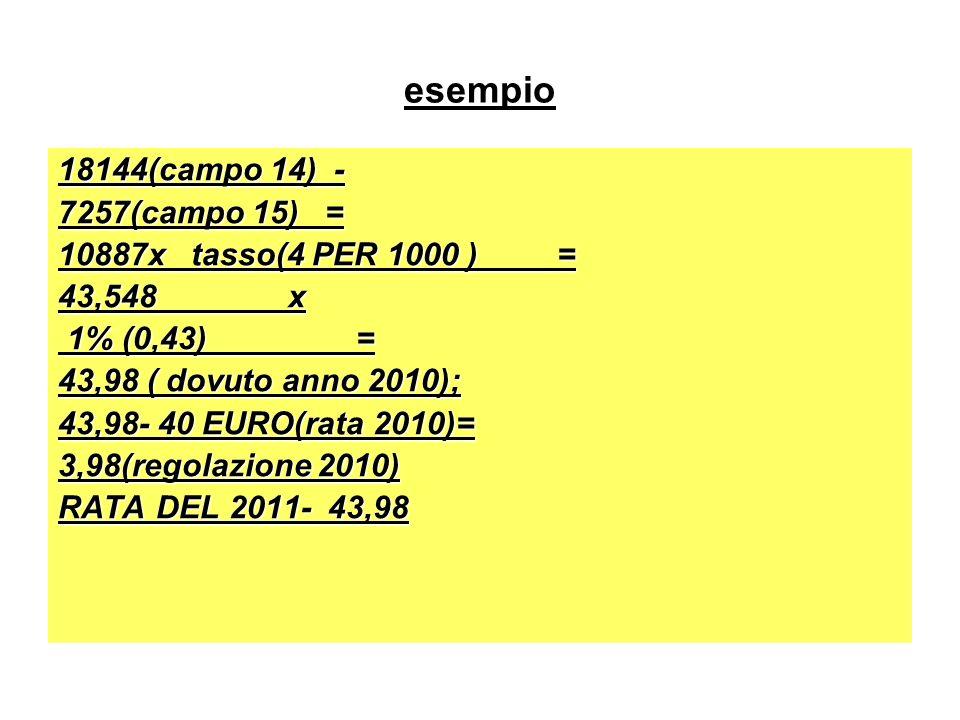 esempio 18144(campo 14) - 7257(campo 15) = 10887x tasso(4 PER 1000 ) = 43,548 x 1% (0,43) = 1% (0,43) = 43,98 ( dovuto anno 2010); 43,98- 40 EURO(rata 2010)= 3,98(regolazione 2010) RATA DEL 2011- 43,98