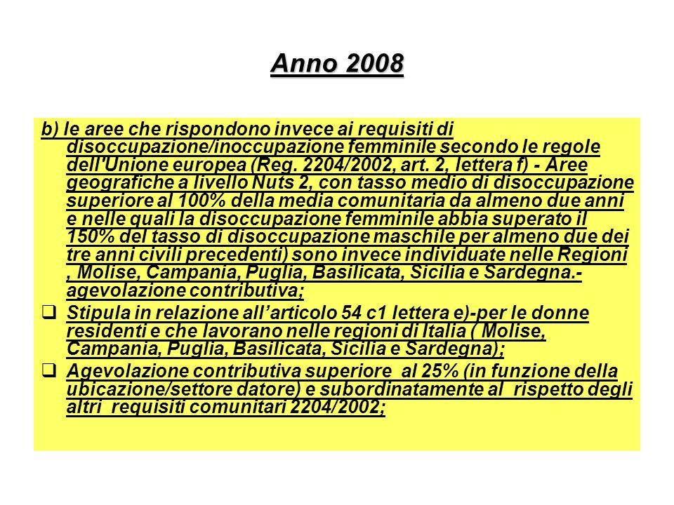 Anno 2008 b) le aree che rispondono invece ai requisiti di disoccupazione/inoccupazione femminile secondo le regole dell'Unione europea (Reg. 2204/200