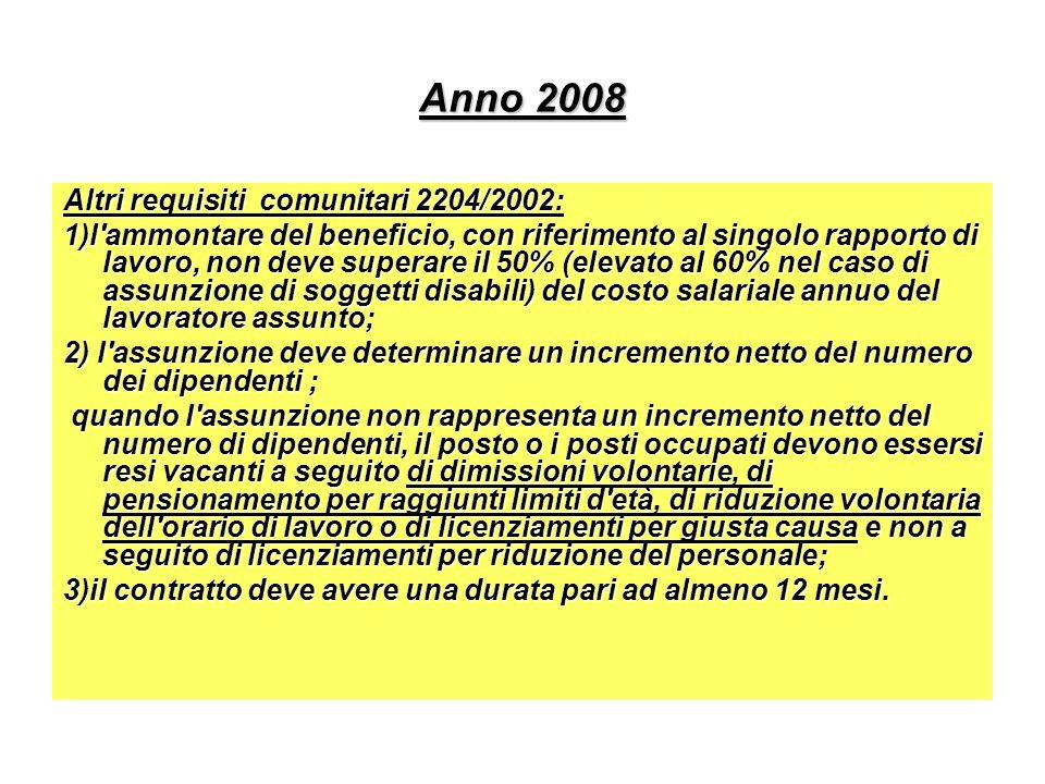 Anno 2008 Altri requisiti comunitari 2204/2002: 1)l'ammontare del beneficio, con riferimento al singolo rapporto di lavoro, non deve superare il 50% (